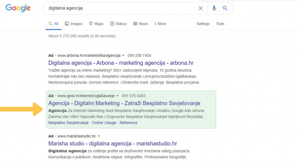 Google Ads rezultat pretraživanja